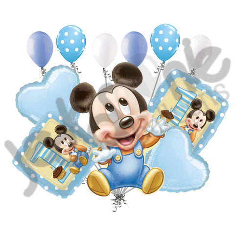 Disney Baby Mickey Mouse 1st Birthday Balloon Bouquet