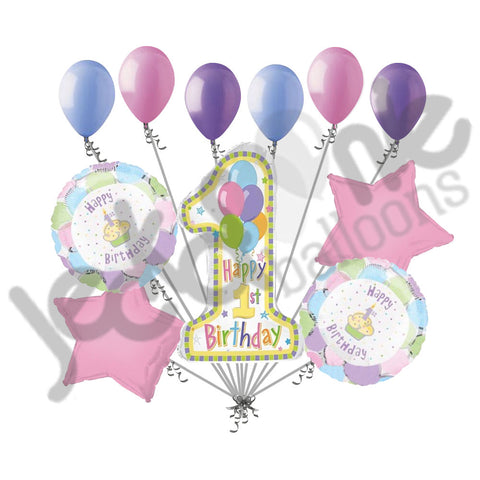 Cupcake Happy 1st Birthday Balloon Bouquet