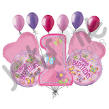 Pink Butterflies & Dragonflies Happy 1st Birthday Balloon Bouquet