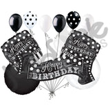Black & White Polka Dot & Stripes Happy Birthday Balloon Bouquet