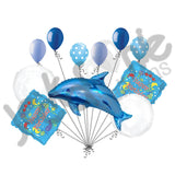 Blue Jumping Dolphin Happy Birthday Balloon Bouquet