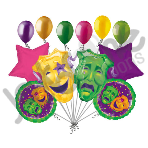 Comedy Tragedy Masks Mardi Gras Balloon Bouquet
