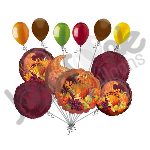 Cornucopia Basket Happy Thanksgiving Balloon Bouquet