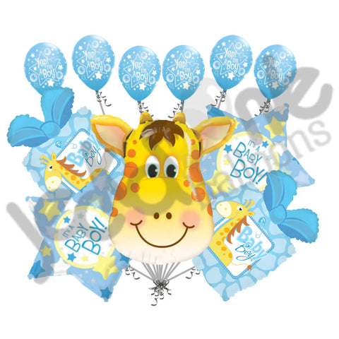 Baby Boy Giraffe Present Balloon Bouquet