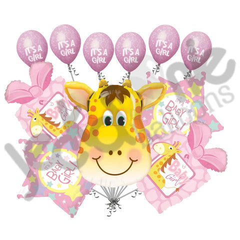 Baby Girl Giraffe Present Balloon Bouquet