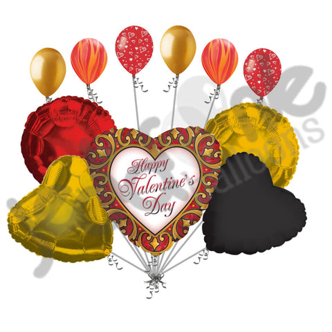 Gold Scrolling Border Happy Valentines Day Balloon Bouquet