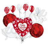 Grafitti Hearts Happy Valentines Day Balloon Bouquet
