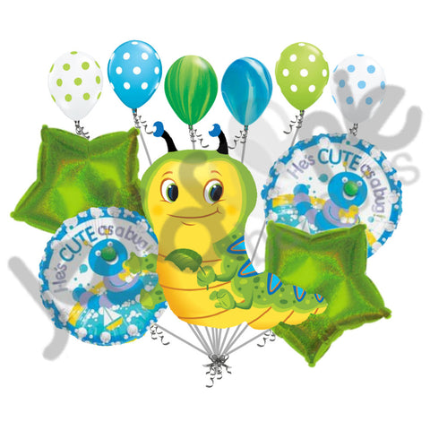 He's Cute Bug Caterpillar Baby Boy Balloon Bouquet