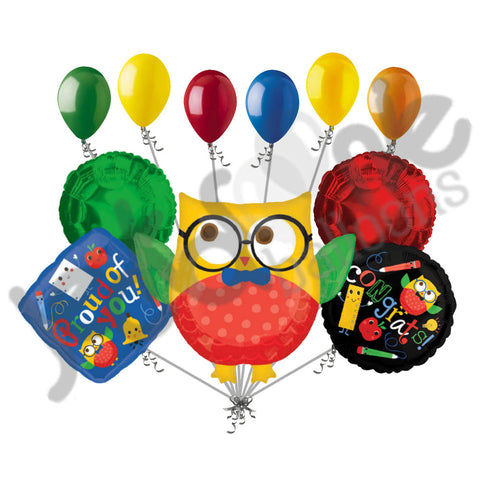 Hip Hip Hooray Owl Congrats Grad Balloon Bouquet