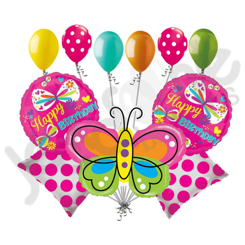Mighty Bright Beautiful Butterfly Happy Birthday Balloon Bouquet