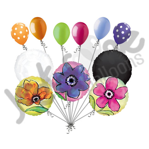 Painted Yellow, Pink, & Purple Flower Balloon Bouquet – Jeckaroonie ...