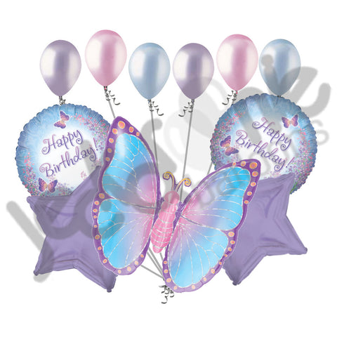 Prismatic Butterfly Happy Birthday Balloon Bouquet