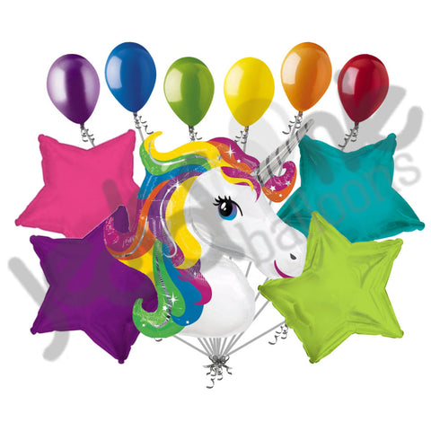 Bright Rainbow Unicorn Happy Birthday Balloon Bouquet