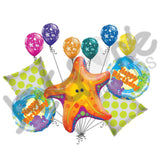 Friendly Star Fish Happy Birthday Balloon Bouquet