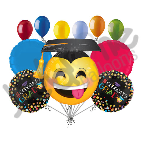 Awesome Emoji Smiley Grad Balloon Bouquet