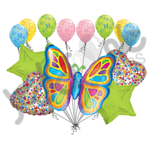 Bright Butterfly Lime Green Balloon Bouquet