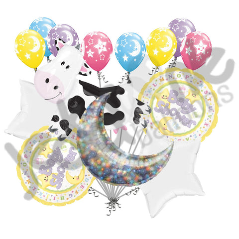 Cow Jumped Over the Moon Gender Neutral Baby Balloon Bouquet