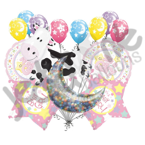 Cow Jumped Over the Moon Baby Girl Balloon Bouquet