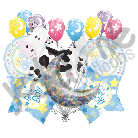 Cow Jumped Over the Moon Baby Boy Balloon Bouquet