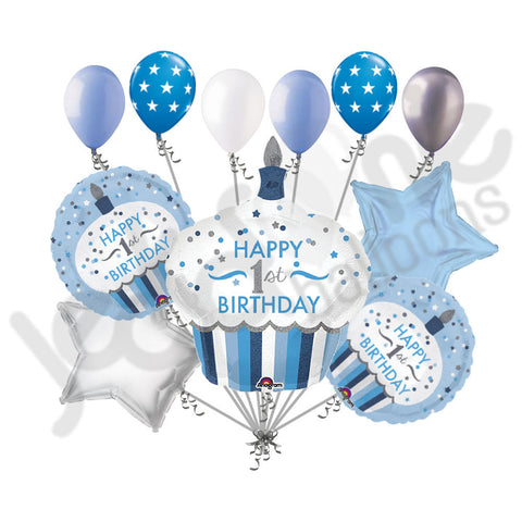 Blue & Silver Cupcake 1st Birthday Boy Balloon Bouquet
