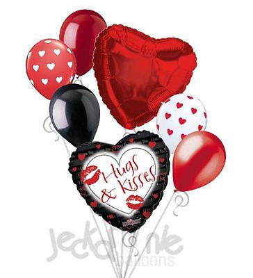 Red Lips Hugs & Kiss Balloon Bouquet