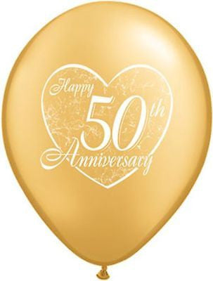 Qualatex Gold Happy 50th Anniversary Latex Balloons