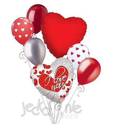 Red & Silver I Love You Heart Balloon Bouquet
