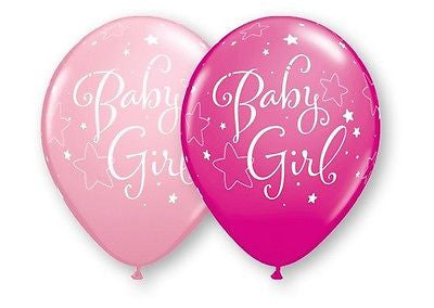 Pink Baby Girl Stars Latex Balloons