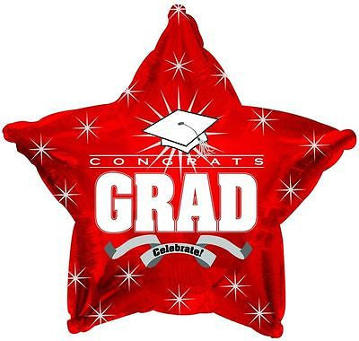 Red Congrats Grad Celebrate Star Balloon