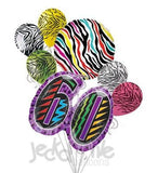 Wild at 60 Colorful Zebra Print Balloon Bouquet