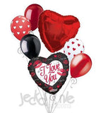 Red Lips Kisses I Love You Balloon Bouquet