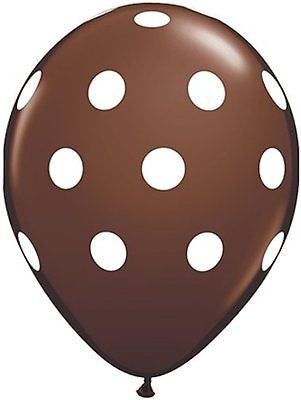 Qualatex Big Polka Dot Brown Latex Balloons