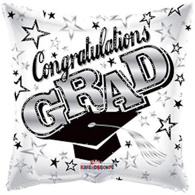 White Congratulations Grad Square Balloon