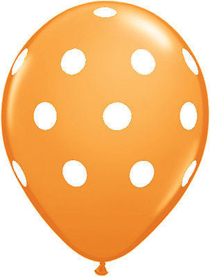 Qualatex Big Polka Dot Orange Latex Balloons
