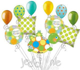 Polka Dot Turtle & Frogs Welcome Twins Balloon Bouquet