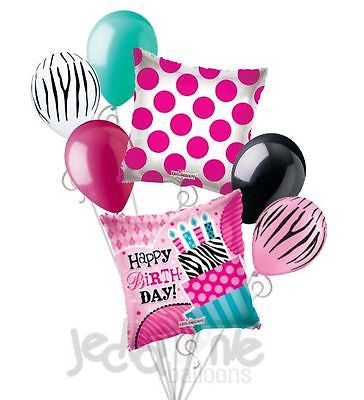 Zebra Print & Dots Cake w/Candles Happy Birthday Balloon Bouquet