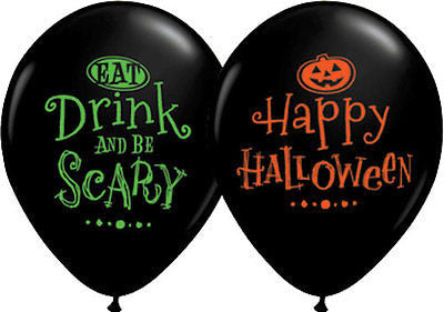 Qualatex Eat Drink & Be Scary Happy Halloween Latex Balloons