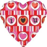 I ♥ U Bright Stripes Heart Balloon Bouquet
