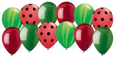 Green Agate & Red Polka Dot Watermelon Themed Latex Balloons