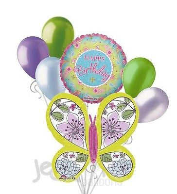 Modern Green Floral Butterfly Happy Birthday Balloon Bouquet