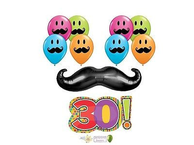 Mustache & Stripes 30th Happy Birthday Balloon Bouquet