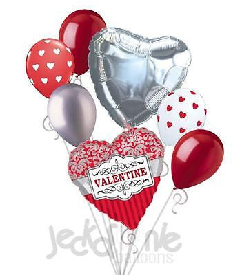 Sophisticated Happy Valentines Day Damask Balloon Bouquet