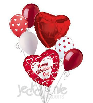 Red & White Happy Valentines Day Balloon Bouquet