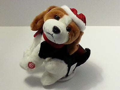 Brown & White Dancing Stuffed Dog with Musical Merry Christmas Song