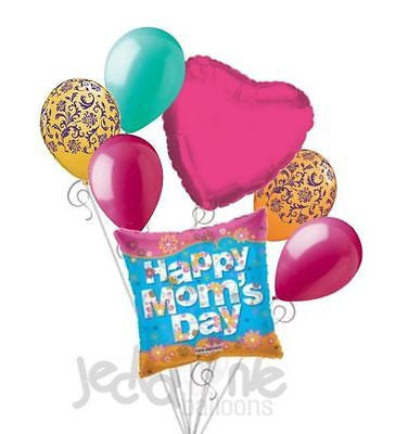 Hot Pink Flowers Happy Mother's Day Balloon Bouquet