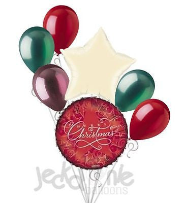 Red Starry Merry Christmas Balloon Bouquet