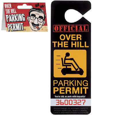 Over the Hill Parking Permit Hang Tag Gag Gift Novelty