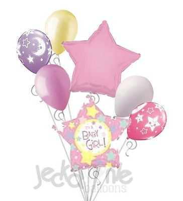 It's a Baby Girl Many Stars Balloon Bouquet