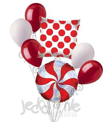 Red & Silver Peppermint Dazzeloon Christmas Balloon Bouquet