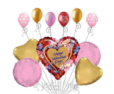 Rose Border Happy Valentines Day Heart Balloon Bouquet